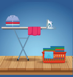 Housekeeping and cleaning kit supplies vector