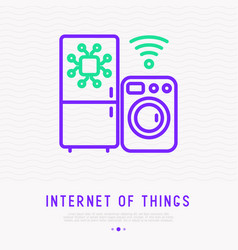 Internet of things thin line icon vector