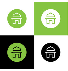 Islamic mosque building circle logo icon design vector