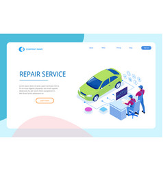 isometric auto repair service station workers in vector image