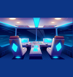 jet cockpit at night empty airplane cabin interior vector image