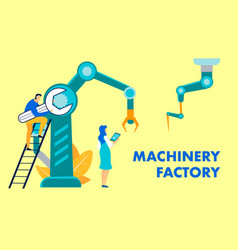Machinery factory flat banner template vector