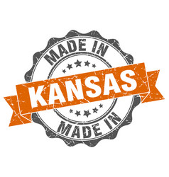 Made in kansas round seal vector