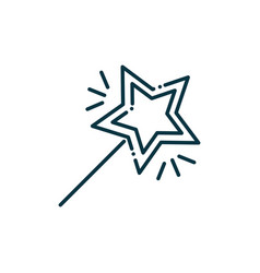 Magic wand happy christmas line icon vector