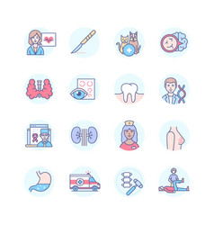 Medical professions - line design style icons set vector