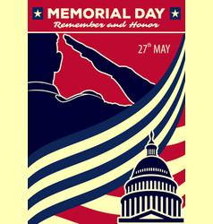 Memorial day poster template vector