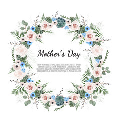 Mother s day greeting card with flowers background vector