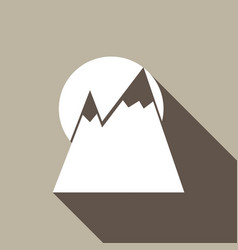 Mountain icon with a long shadow vector