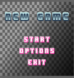 Old video game background retro new game text vector