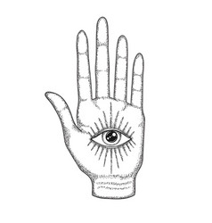 Palm with eye providence masonic symbol vector