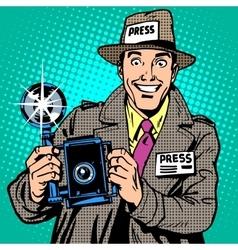 Photographer paparazzi at work press media camera vector image