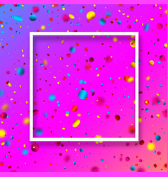 pink festive background with colorful confetti vector image