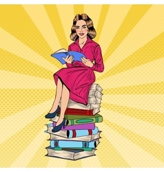 Pop Art Young Woman Sitting and Reading Book vector image