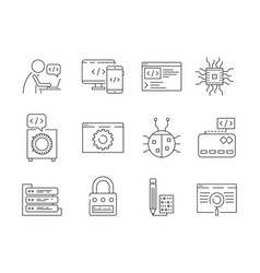 programmer icon coder web dev worker bug fixes vector image