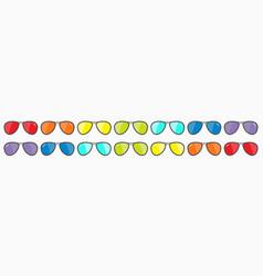 Rainbow sunglasses icon set line glasses set with vector