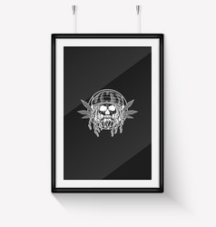 rastafarian skull with dreadlocks vector image