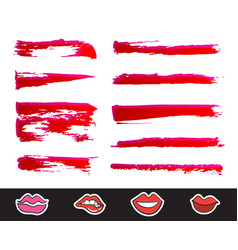 red lipstick smears set texture brush strokes vector image