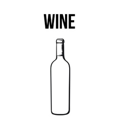 Red wine bottle isolated sketch style vector