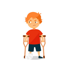 sad boy with broken leg standing with crutches vector image