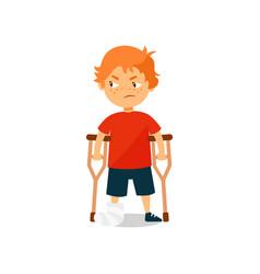 Sad boy with broken leg standing with crutches vector
