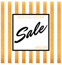 sale banner with gold vertical stripes on white vector image