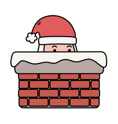 santa in chimney decoration merry christmas vector image