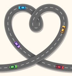 Seamless Heart Road with Cars on Beige vector image