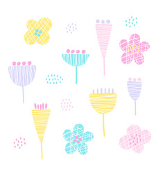 Set of cutout florals abstract colorful flowers vector