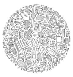 Set of Hair salon cartoon doodle objects vector