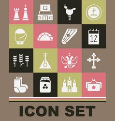 Set ushanka christian cross calendar 12 june vector