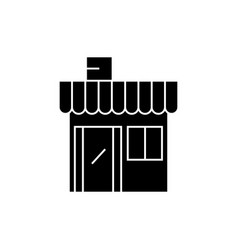 shop building black icon concept shop building vector image