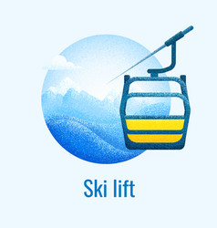 Ski lift retro banner vector
