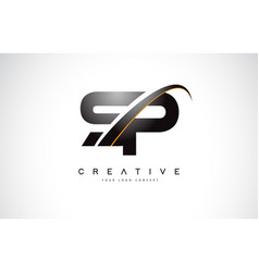 Sp s p swoosh letter logo design with modern vector