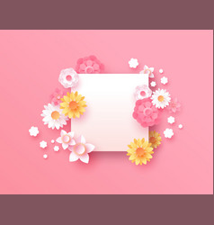 Spring paper cut pink flower copy space template vector