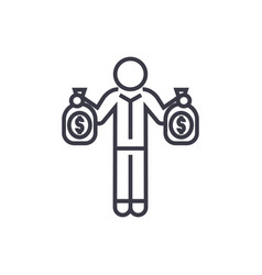 successful person with money bags linear icon vector image