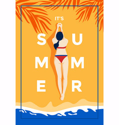 summer background flat design summer time 3 vector image
