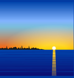 Sunset sea landscape vector