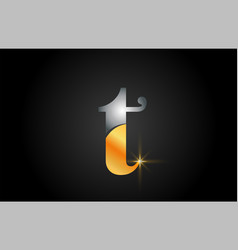 T gold alphabet letter logo design suitable for a vector