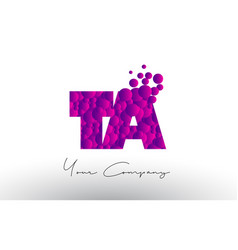 Ta t a dots letter logo with purple bubbles vector