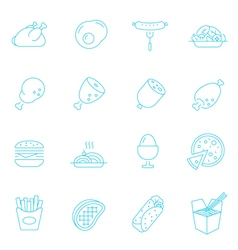 Thin lines icon set - Western food vector image
