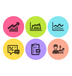 Trade infochart checklist and demand curve icons vector