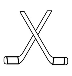 two crossed hockey sticks icon outline style vector image