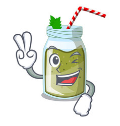 Two finger juice smoothies green in cartoon table vector