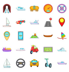 urban transport icons set cartoon style vector image