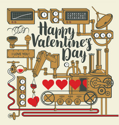 Valentine card with decorative factory love vector