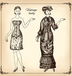 Vintage lady hand drawing vector