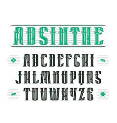 Vintage serif font with decoration vector