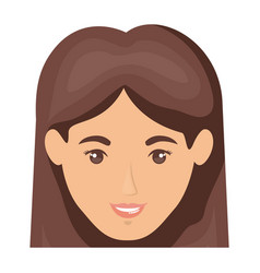 White background of smiling woman face with vector