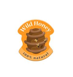 wild honey bee hive symbol for label design vector image