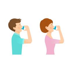 woman and man use an inhaler vector image